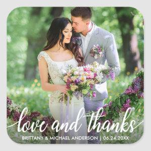 Wedding Thank You Love and Thanks Photo Square Sticker