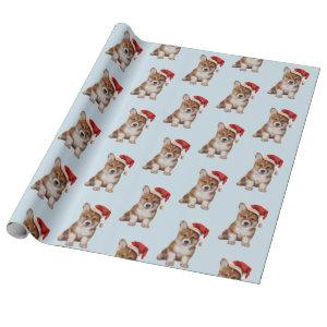 Welsh Corgi puppy in red hat of Santa Claus Wrapping Paper