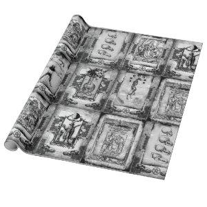 Werewolf Manuscript Wrapping Paper black/white