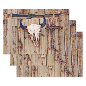 Western Vintage Bull Skull Rustic Brown Barn Wrapping Paper Sheets
