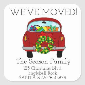 We've Moved Car Christmas label
