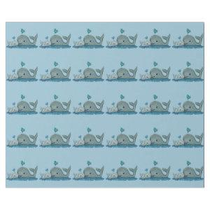 Whale Mom and Baby Swimming in the Sea Wrapping Paper