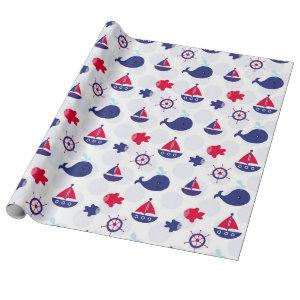 Whale Watching on Blue Wrapping Paper