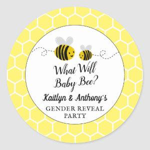 What Will Baby Bee Gender Reveal Party Classic Round Sticker