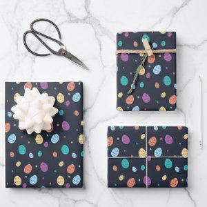 Whimsical Blue Colorful Easter Egg Pattern Wrapping Paper Sheets