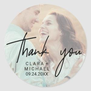 Whimsical Calligraphy | Photo Back Thank You Favor Classic Round Sticker
