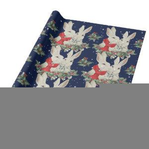 Whimsical Christmas Bunny Rabbits Snow Winter Blue Wrapping Paper