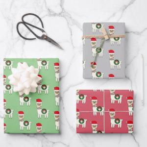 Whimsical Christmas Llamas Wrapping Paper Sheets
