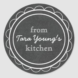 Whimsical Cute Chalkboard Canning Baking Kitchen Classic Round Sticker