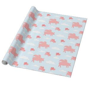 Whimsical Flying Pigs Wrapping Paper