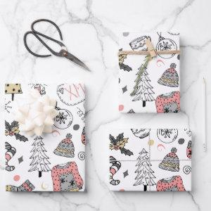 Whimsical Noel Holiday Wrapping Paper Sheets
