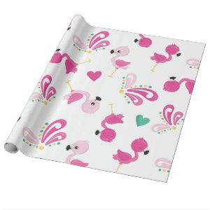 Whimsical Pink Flamingo Pattern Wrapping Paper