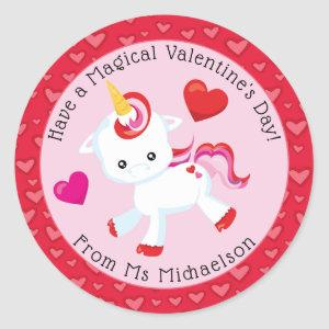 Whimsical Valentine Magical Unicorn Hearts Classic Round Sticker