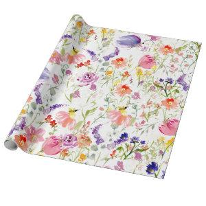 Whimsical Wildflowers | Watercolor Wrapping Paper