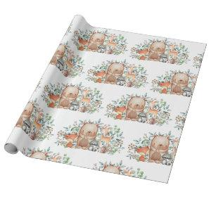 Whimsical Woodland Baby Animals 1st Birthday Party Wrapping Paper