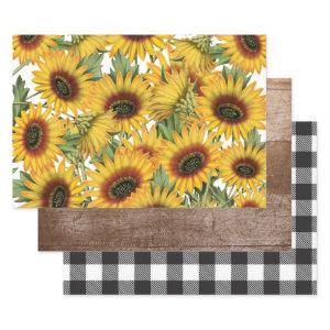 White and Black Buffalo Plaid Wood Sunflowers Wrapping Paper Sheets