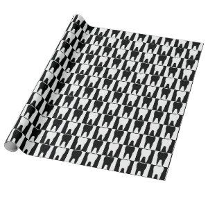 White and black teeth pattern wrapping paper