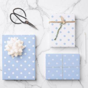 White and Blue Pastel Polka Dot Mix Wrapping Paper Sheets