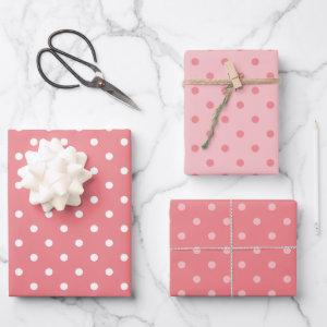White and Coral Polka Dot Pastel Mix Wrapping Paper Sheets