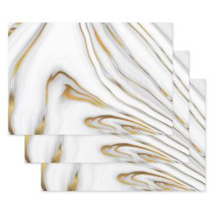 White And Gray Marble Wrapping Paper Sheets