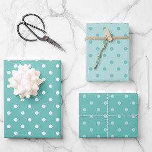 White and Light Teal Pastel Polka Dot Mix Wrapping Paper Sheets