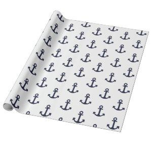 White and Navy Anchor Wrapping Paper
