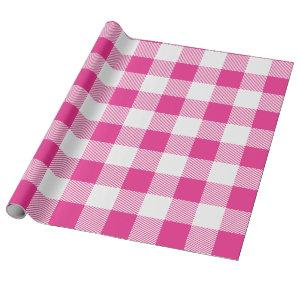 White and Pink Buffalo Plaid Wrapping Paper