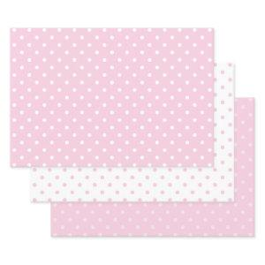 White and Pink Pastel Polka Dot Mix Wrapping Paper Sheets