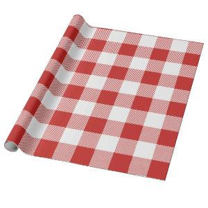 White and Red Buffalo Plaid Wrapping Paper