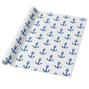 White and Royal Blue Anchor Wrapping Paper