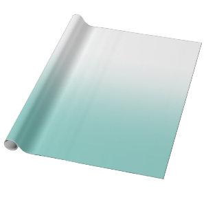 White and Teal Ombre Wrapping Paper