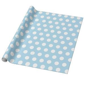 White & Baby Blue Medium Polka Dot Wrapping Paper