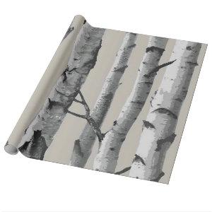 White Birch Tree Trunks on Beige Wrapping Paper
