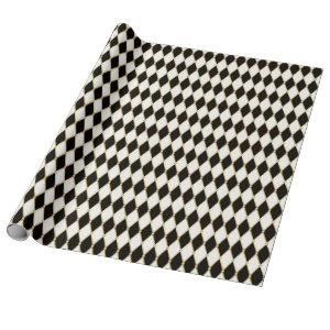 White Black Golden Harlequin Christmas Holiday Wrapping Paper