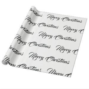 White & Black Merry Christmas - Wrapping Paper