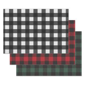 White Black Red Green Buffalo Plaid Wrapping Paper Sheets