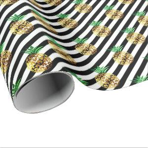 White black stripes tropical fruit pineapple gold wrapping paper