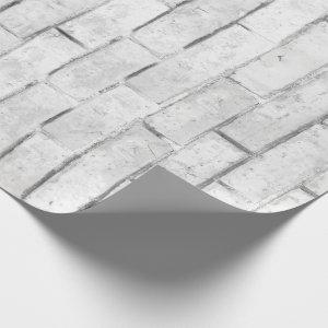 White Brick Wall Pattern Wrapping Paper