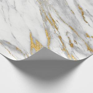 White Carrara Marble Gray Gold Stone Minimal Wrapping Paper