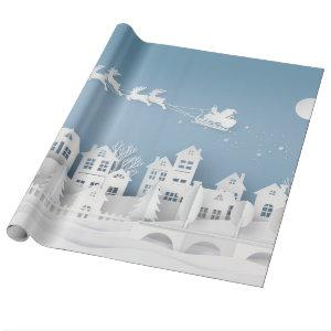 White Christmas on Blue Wrapping Paper