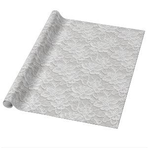 White Floral Lace Wrapping Paper