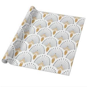 White, Gold and Black Art Deco Fan Flowers Motif Wrapping Paper