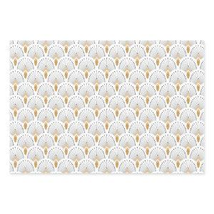 White, Gold and Black Art Deco Fan Flowers Motif Wrapping Paper Sheets