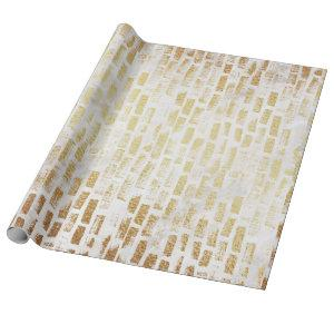 White Gold Brick Wall Pattern Modern Gift Wrap