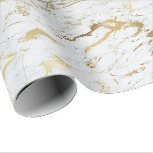 White Gold Carrara Marble Stone VIP Luxury Wrapping Paper