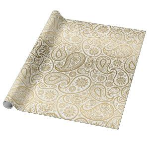 White & Gold Vintage Paisley Pattern Wrapping Paper