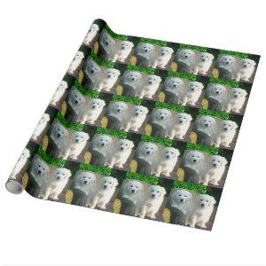 White Golden Retriever Dogs Sitting in Fiber Chai Wrapping Paper