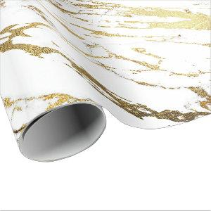 White Golden Stroke Marble Shiny Glam Abstract VIP Wrapping Paper
