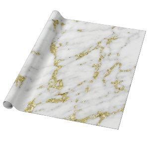 White Gray Gold  Glitter Carrara Marble Stone Lux Wrapping Paper