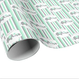 White, Gray & Green Stripe Elephants Baby Shower Wrapping Paper